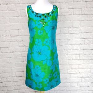 Eliza J Green & Blue Floral Embellished Dress